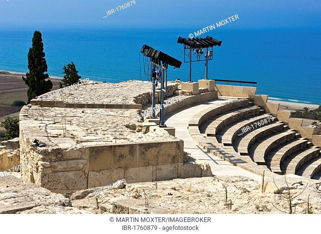 Ruins of Kourion, excavation site of ancient Kourion, Graeco-Roman amphitheatre, Odeon, Sanctuary of Apollo Hylates, Akrotiri peninsula, near Episkopi