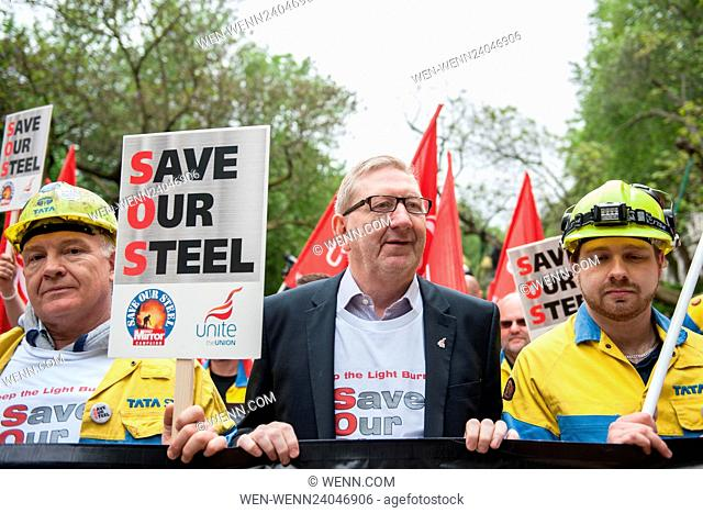 Hundreds of steel workers and their supporters march down London's Whitehall to the Houses of Parliament. Featuring: Len McCluskey (centre) Where: London