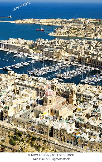Senglea or Isla and Vittoriosa or Birgu,Aerial View, Malta Island, Republic of Malta