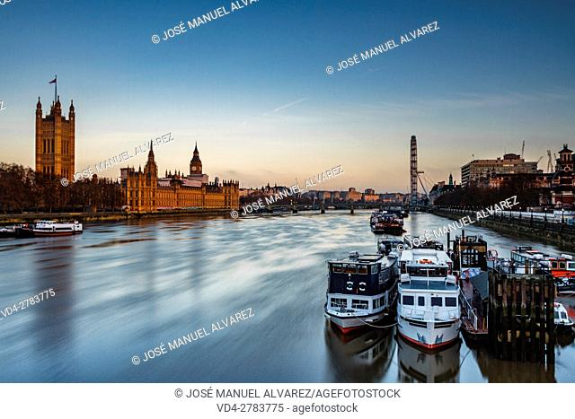 General view of London where you can see Big Ben, Palace of Westminster, thames river and London eye. London, United Kingdom