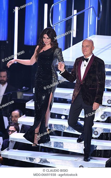 Virginia Raffaele, Claudio Bisio at the fourth evening of the 69th Sanremo Music Festival. Sanremo (Italy), February 8th, 2019