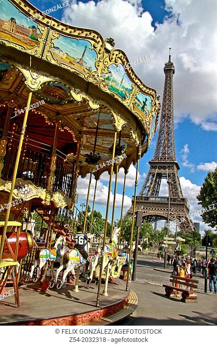 Merry-go-round at Eiffel tower, Paris France