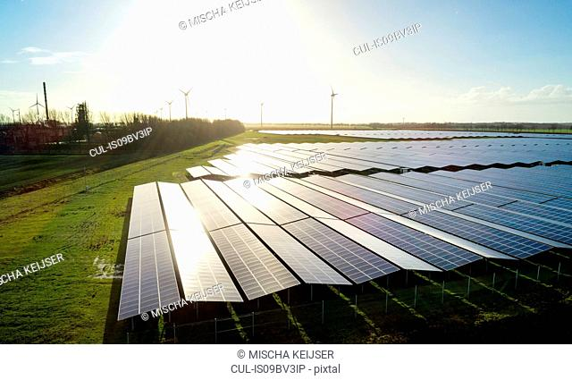 Field landscape with the largest solar farm in Netherlands, situated near Delfzijl harbour
