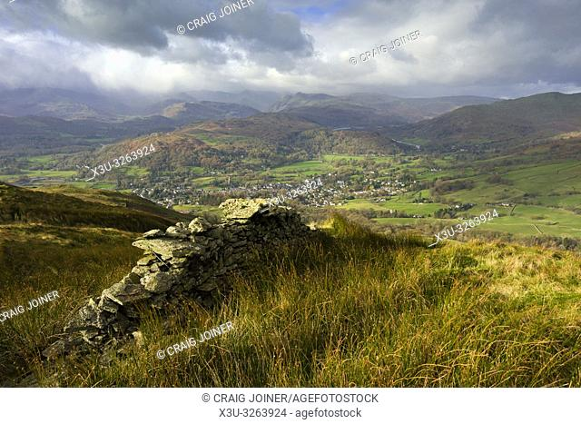The view from Wansfell over the town of Ambleside in the Lake District National Park, Cumbria, England