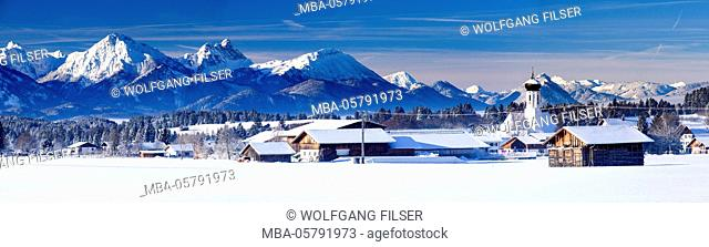 Panorama of place Berghof in Bavaria with alpine range