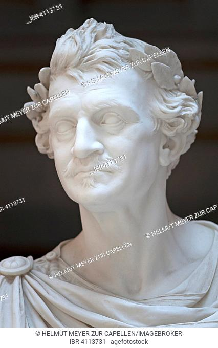 Portrait, detail of sculpture of Louis I., King of Bavaria, 1786-1868, founder of Walhalla, Donaustauf, Upper Palatinate, Bavaria, Germany