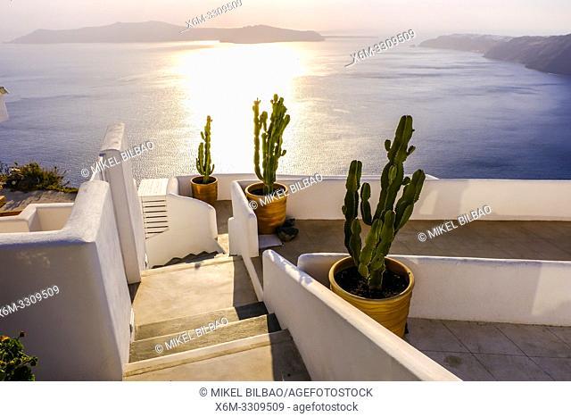 Terrace in an hotel and caldera view. Imerovigli village. Santorini island. Cyclades islands. Greece
