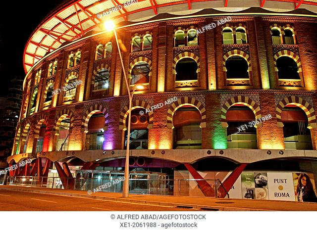 Night lighting, shopping center Las Arenas, old bull ring, Barcelona, Catalonia, Spain