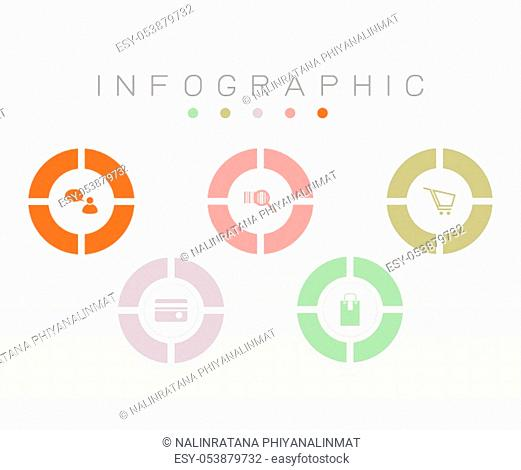Vector infographic template with design circle, stock vector