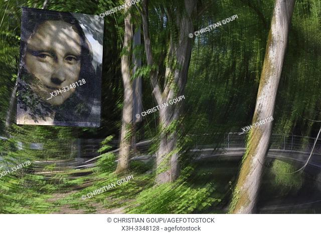 poster with effigy of ''Mona Lisa'' in the park of Clos-Luce that was the residence of Leonardo da Vinci, Amboise, Touraine, department of Indre-et-Loire