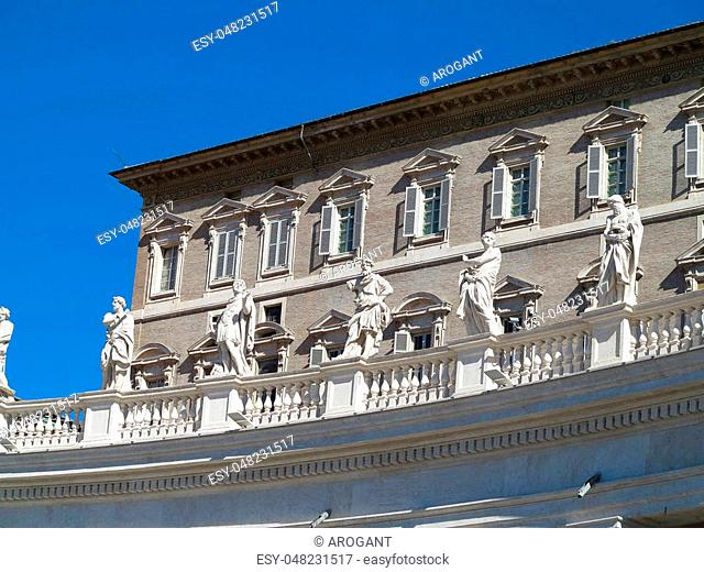 Statues and architectural details on Saint Peter square in Vatican, Roma, Italy