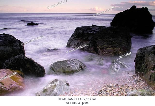 Beach at Webb's Castle on Howth Head in the evening, County Dublin, Ireland