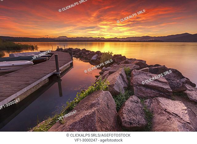 Fire Sunset on lake front of lake Varese from Cazzago Brabbia, Varese province, Lombardy, Italy, Europe