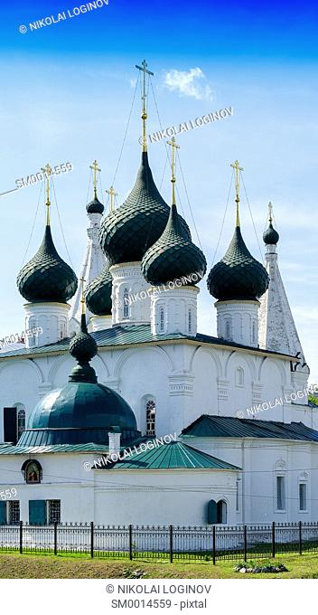 Vertical vivid summer orthodox Russian church temple background backdrop
