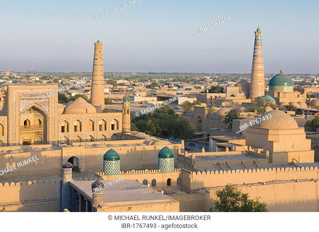 View of the mosques and medressas at Ichon Qala Fortress, Khiva, Uzbekistan, Central Asia