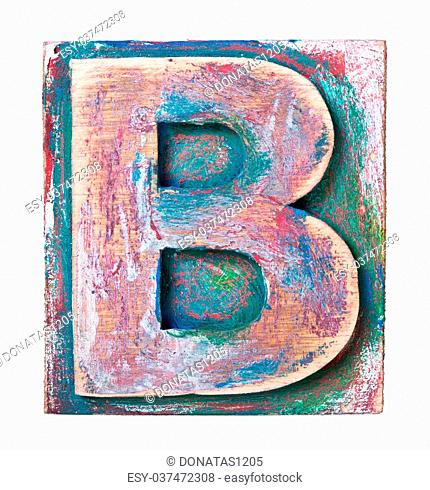 Wooden alphabet block, letter B