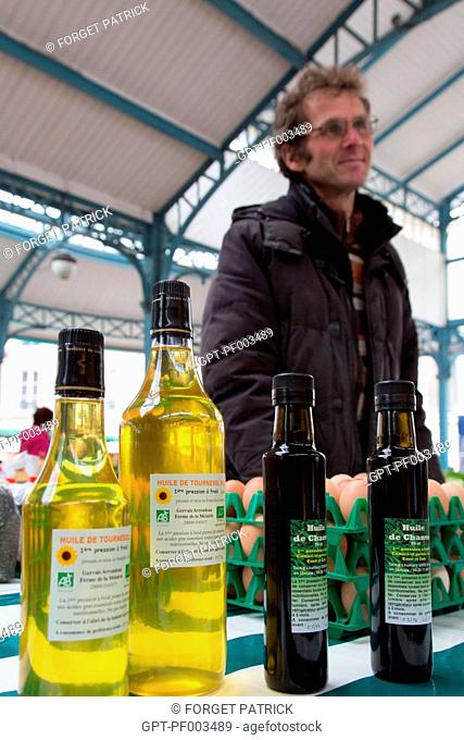 ORGANIC SUNFLOWER OIL (AB LABEL) AND HEMP OIL, COVERED VEGETABLE MARKET OF CHARTRES (28), FRANCE
