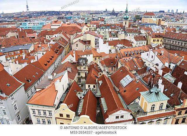 Aerial view of Prague Old Town district. Prague. Czech Republic