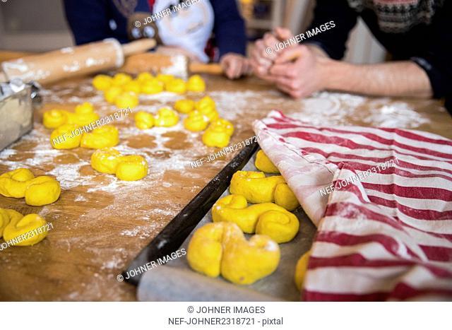 Homemade saffron rolls