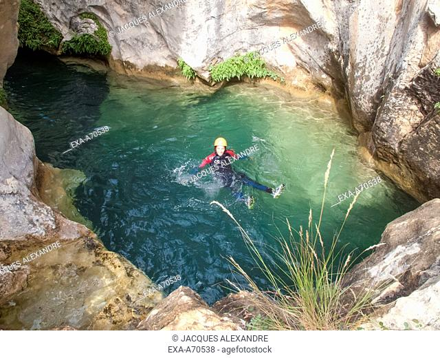 woman doing canyoning