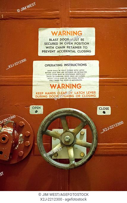 Cooperstown, North Dakota - A blast door at the Ronald Reagan Minuteman Missile State Historic Site, a deactivated underground launch control facility that...