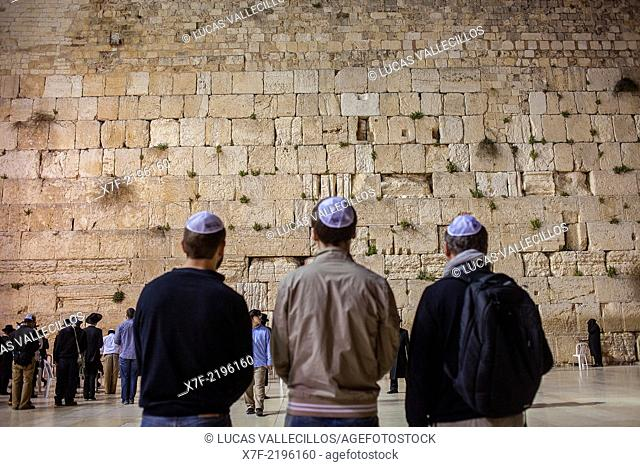 men's prayer area, men praying at the Western Wall, Wailing Wall, Jewish Quarter, Old City, Jerusalem, Israel