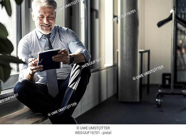 Smiling mature businessman sitting at the window with notebook