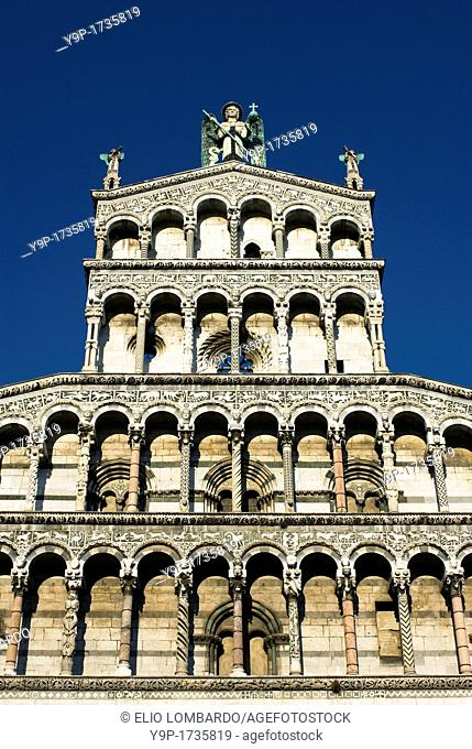 San Michele in Foro Church  Detail of Facade  Lucca, Tuscany, Italy