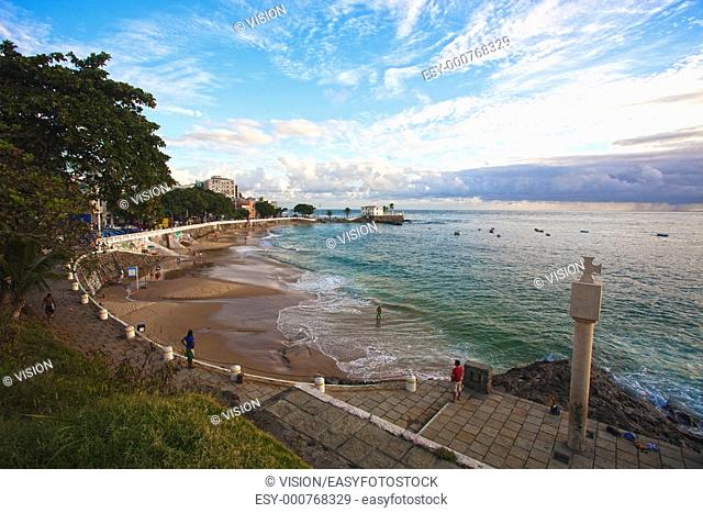 sunset in the beautiful city of salvador in bahia state brazil