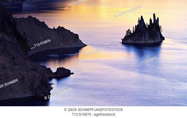 The Phantom Ship in Crater Lake, Oregon, at sunrise