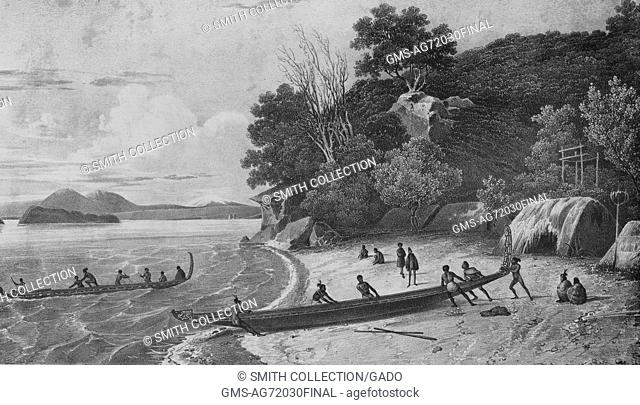 An etching from a painting of native villagers moving a boat in to the water, a portion of the their village is visible next to the tree line that runs along...