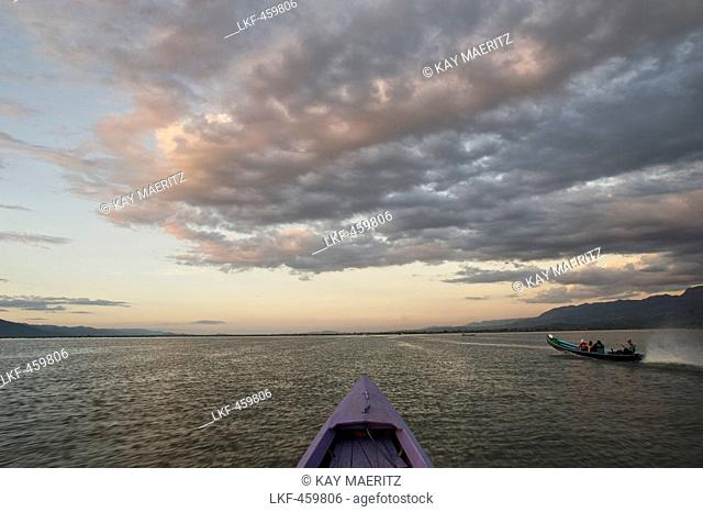 Clouds and boats on lake Inle, Shan Staat, Myanmar, Burma