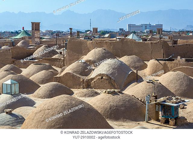 Small domes one the roofs of Khan bazaar in Mosalla quarter of Yazd, capital of Yazd Province of Iran
