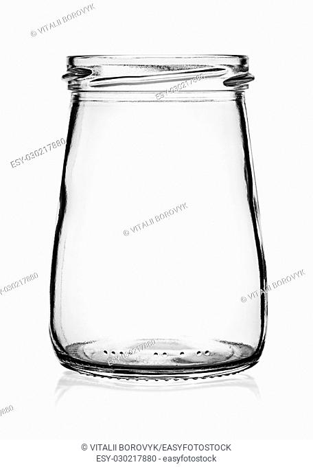Empty glass jar without cap isolated on white background
