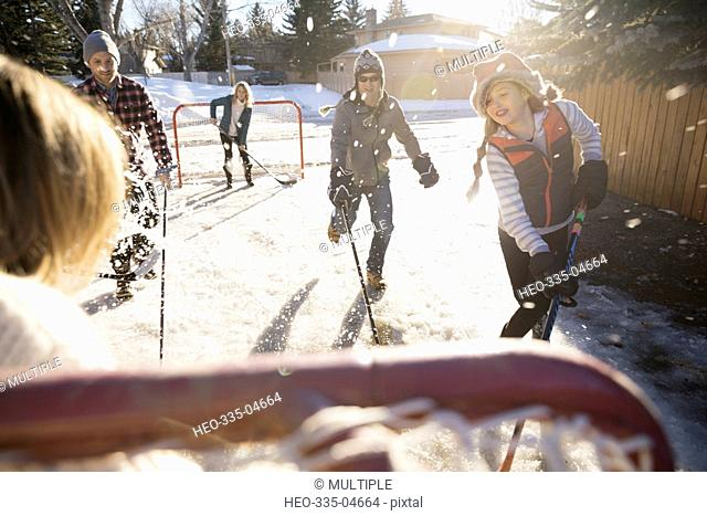 Families playing ice hockey in sunny, snowy driveway
