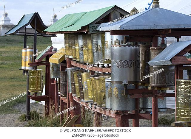 Prayer wheels at the Erdene Zuu monastery complex in Kharakhorum (Karakorum), Mongolia, Mongolias largest monastery, (UNESCO World Heritage Site)