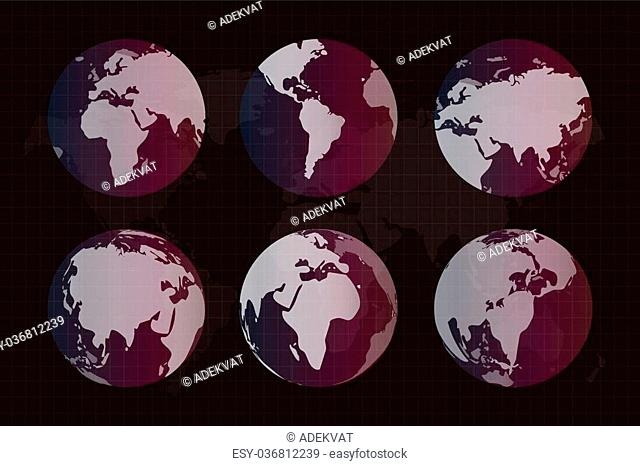 World map. Globe Earth texture map. Globe vector map view from space. Globe Earth silhouette. Technology background, geography world vector earth