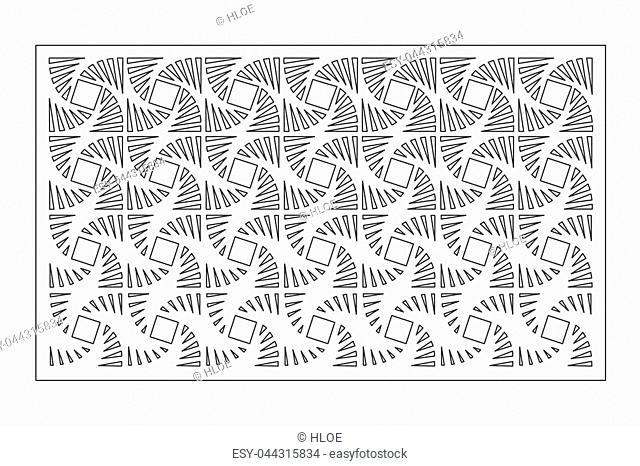 Decorative card for cutting laser or plotter. Geometric line square pattern. Laser cut. Ratio 2:3. Vector illustration