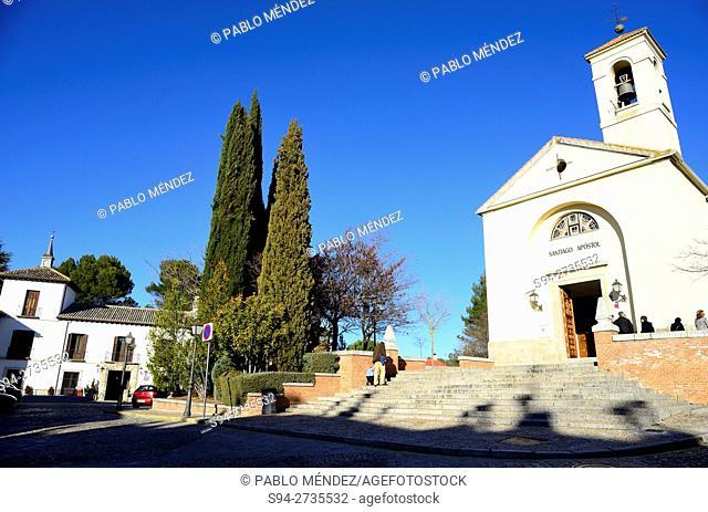 Church of Santiago Apostol and Godoy palace in Villaviciosa de Odon, Madrid, Spain