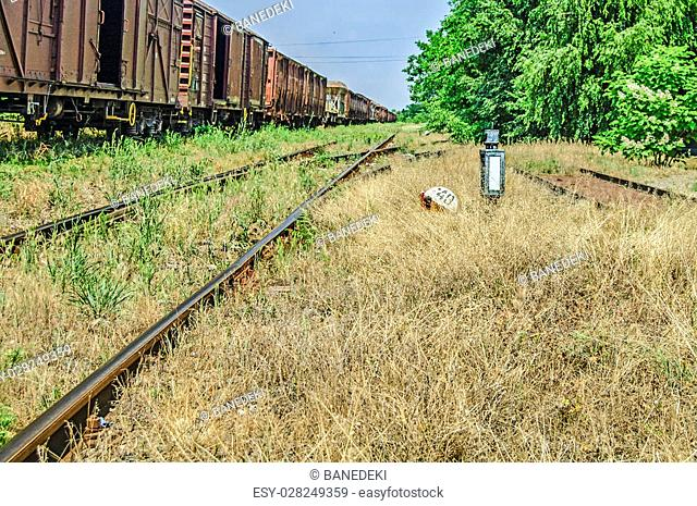 The old railway line, and installation lost in the grass