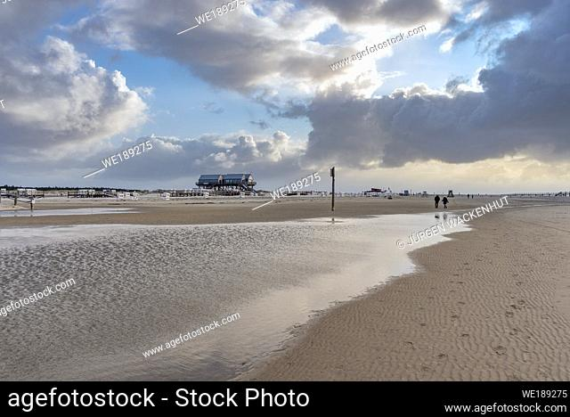 Beach with stilt houses, Sankt Peter-Ording, North Sea, Schleswig-Holstein, Germany, Europe