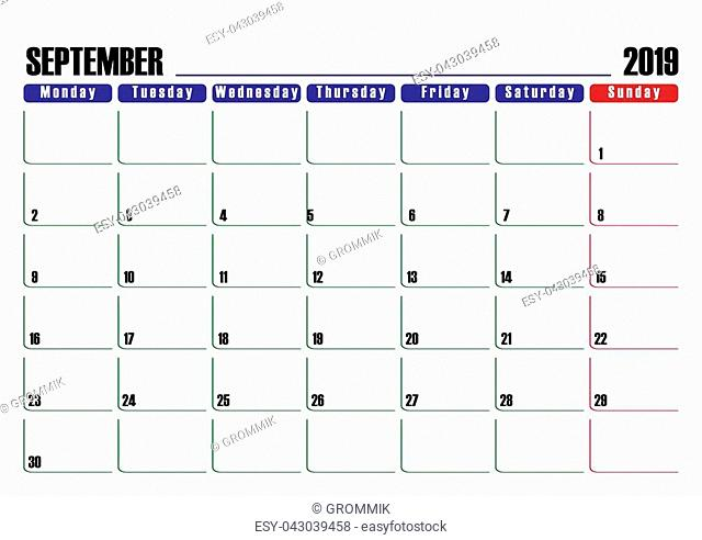 Calendar scheduler. Leaf for September 2019, one day off