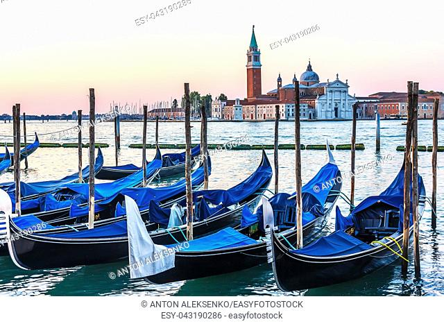 Gondolas in Venice, view of the Grand Canal