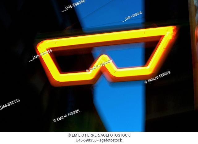 Advertising glasses on the street  LLeida  Spain
