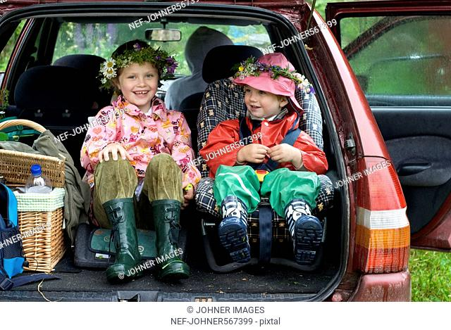 Children in the boot of a car, Sweden