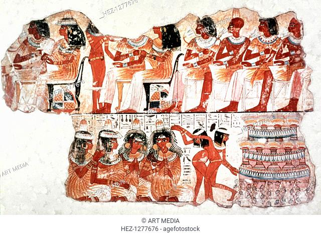 Banquet Scene, Wall Painting, Tomb of Nebamun, Thebes, 18th Dynasty. A sensual celebration of new life, British Museum, London