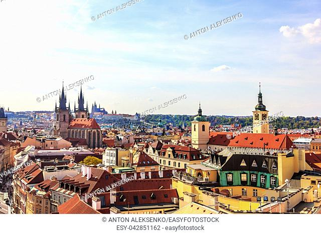 Church of Our Lady before Tyn and the Old Town of Prague aerial view