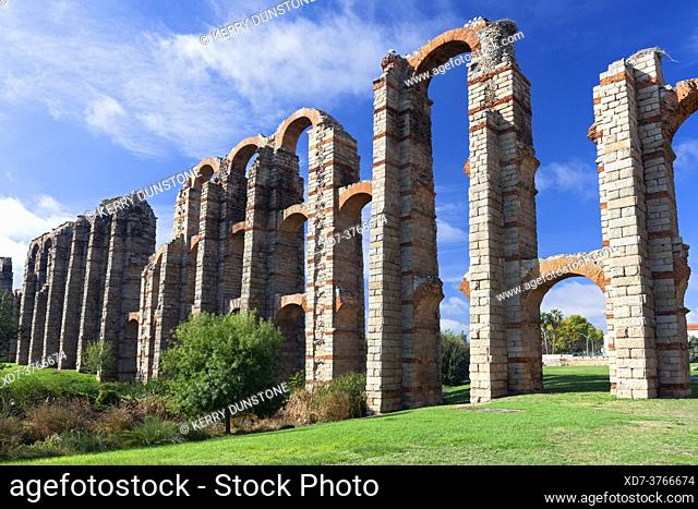 Europe, Spain, Badajoz, Merida, Roman Acueducto de los Milagros or 'Miraculous Aqueduct'