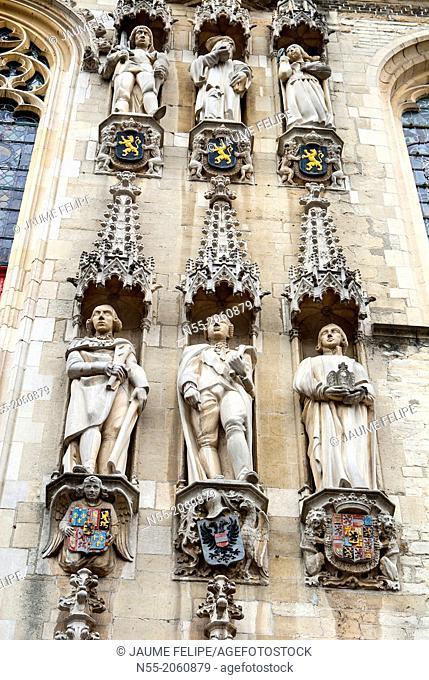 City Hall Facade, Burg Square, Bruges, West Flanders, Belgium