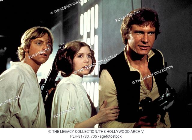 """Studio Publicity Still of Harrison Ford, Carrie Fisher and Mark Hamill in """"""""Star Wars"""""""" 1977 20th Century Fox"""